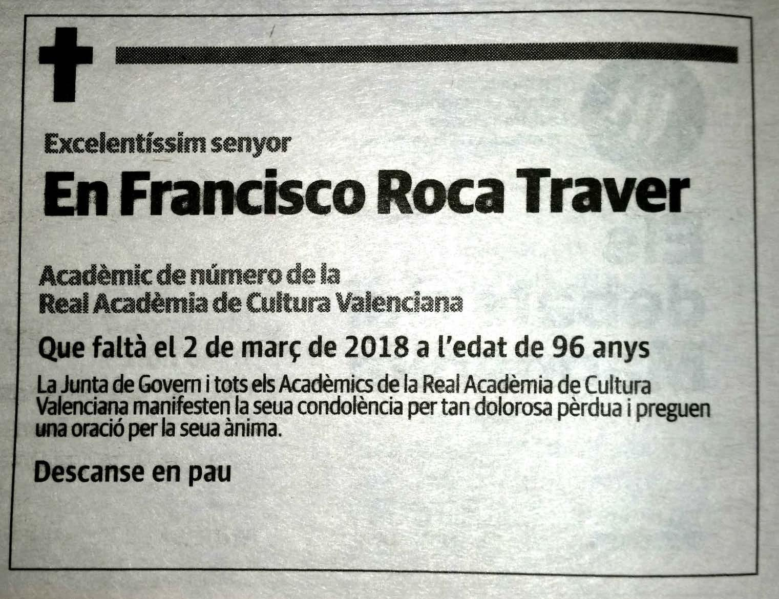 Ha mort l'Acadèmic de Número Francisco A. Roca Traver