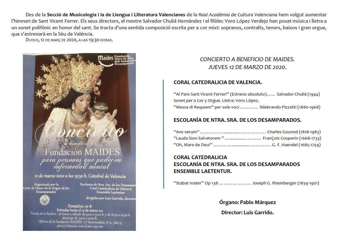 Concierto a beneficio de Fundación Maides